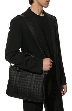 Мужская кожаная сумка для ноутбука BOTTEGA VENETA черного цвета, арт. 651580/V0E51 | Фото 2