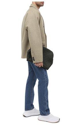 Мужская кожаный клатч BOTTEGA VENETA темно-зеленого цвета, арт. 650033/V0E50 | Фото 2 (Материал: Натуральная кожа)
