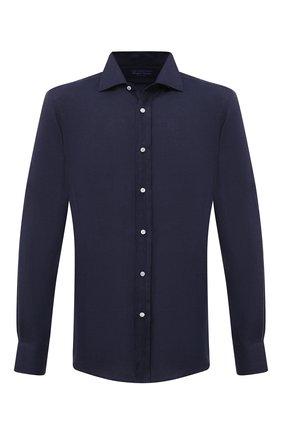 Мужская льняная рубашка RALPH LAUREN темно-синего цвета, арт. 790587253 | Фото 1