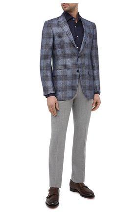 Мужская льняная рубашка RALPH LAUREN темно-синего цвета, арт. 790587253 | Фото 2