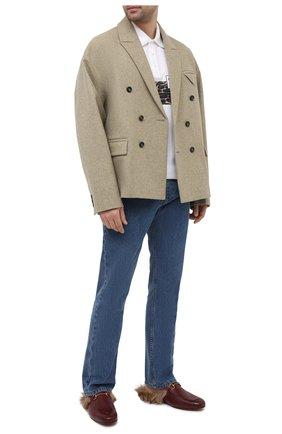 Мужские кожаные сабо GUCCI бордового цвета, арт. 397647/1M060 | Фото 2