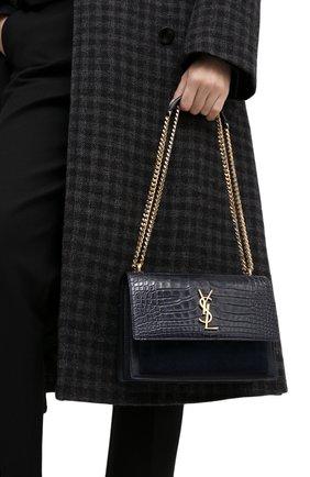 Женская сумка sunset из кожи крокодила SAINT LAURENT синего цвета, арт. 442906/LVK2K | Фото 2 (Сумки-технические: Сумки через плечо; Ремень/цепочка: На ремешке; Размер: small)