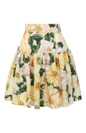 Женская хлопковая юбка DOLCE & GABBANA желтого цвета, арт. F4BY8T/HS5IA | Фото 1
