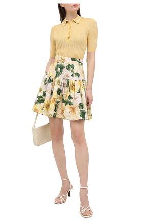 Женская хлопковая юбка DOLCE & GABBANA желтого цвета, арт. F4BY8T/HS5IA | Фото 2