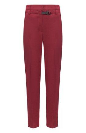 Женские брюки из льна и хлопка BRUNELLO CUCINELLI бордового цвета, арт. MF591P7453 | Фото 1