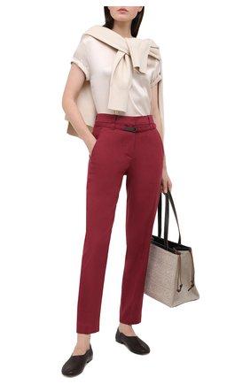 Женские брюки из льна и хлопка BRUNELLO CUCINELLI бордового цвета, арт. MF591P7453 | Фото 2