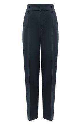 Женские брюки из льна и хлопка BRUNELLO CUCINELLI синего цвета, арт. MF591P7589 | Фото 1