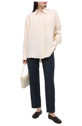 Женские брюки из льна и хлопка BRUNELLO CUCINELLI синего цвета, арт. MF591P7589 | Фото 2
