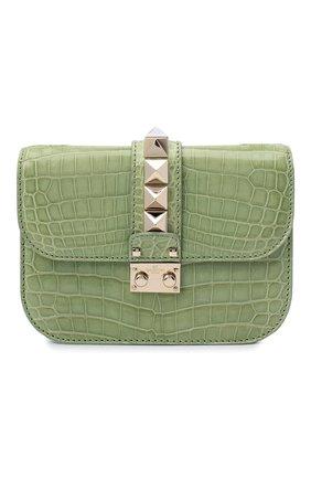 Женская сумка glam lock small из кожи крокодила VALENTINO светло-зеленого цвета, арт. KW2B0312/C0D | Фото 1