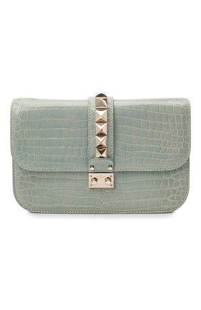 Женская сумка valentino garavani lock medium из кожи аллигатора VALENTINO светло-зеленого цвета, арт. LW0B0398/C0D | Фото 1