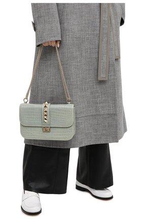 Женская сумка valentino garavani lock medium из кожи аллигатора VALENTINO светло-зеленого цвета, арт. LW0B0398/C0D | Фото 2