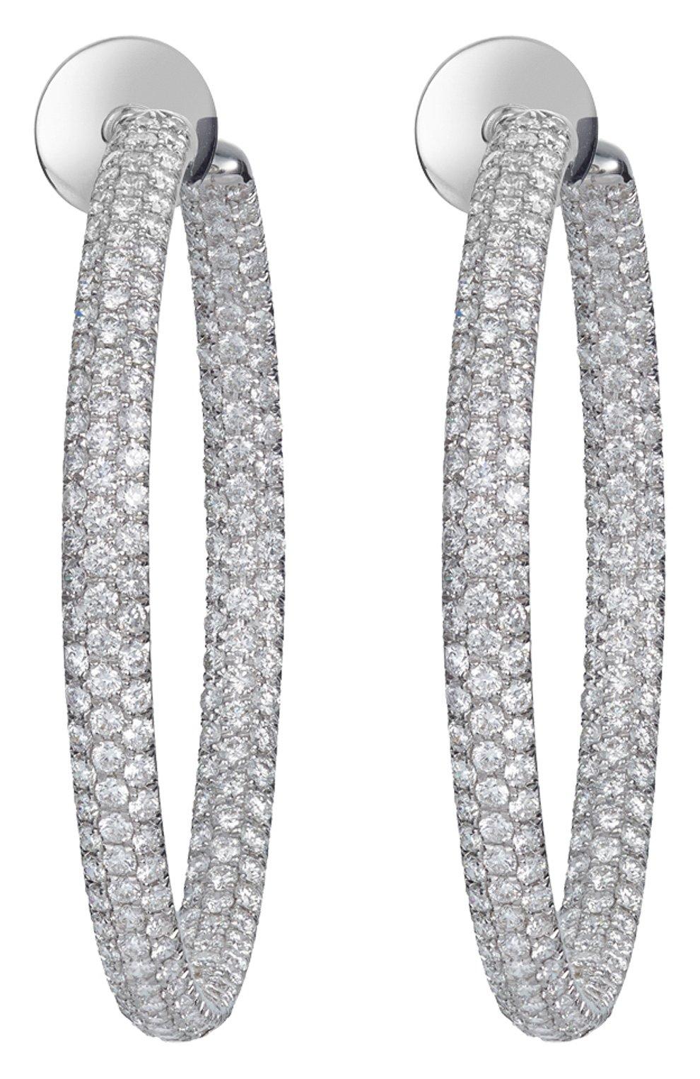 Женские серьги-кольца MERCURY бесцветного цвета, арт. ME22826/WG/HP2.00 | Фото 1 (Материал сплава: Белое золото; Драгоценные камни: Бриллианты)