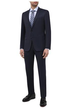 Мужской шерстяной костюм BOSS темно-синего цвета, арт. 50444224   Фото 1 (Рукава: Длинные; Материал внешний: Шерсть; Стили: Классический; Костюмы М: Однобортный)