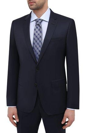 Мужской шерстяной костюм BOSS темно-синего цвета, арт. 50444224   Фото 2 (Рукава: Длинные; Материал внешний: Шерсть; Стили: Классический; Костюмы М: Однобортный)