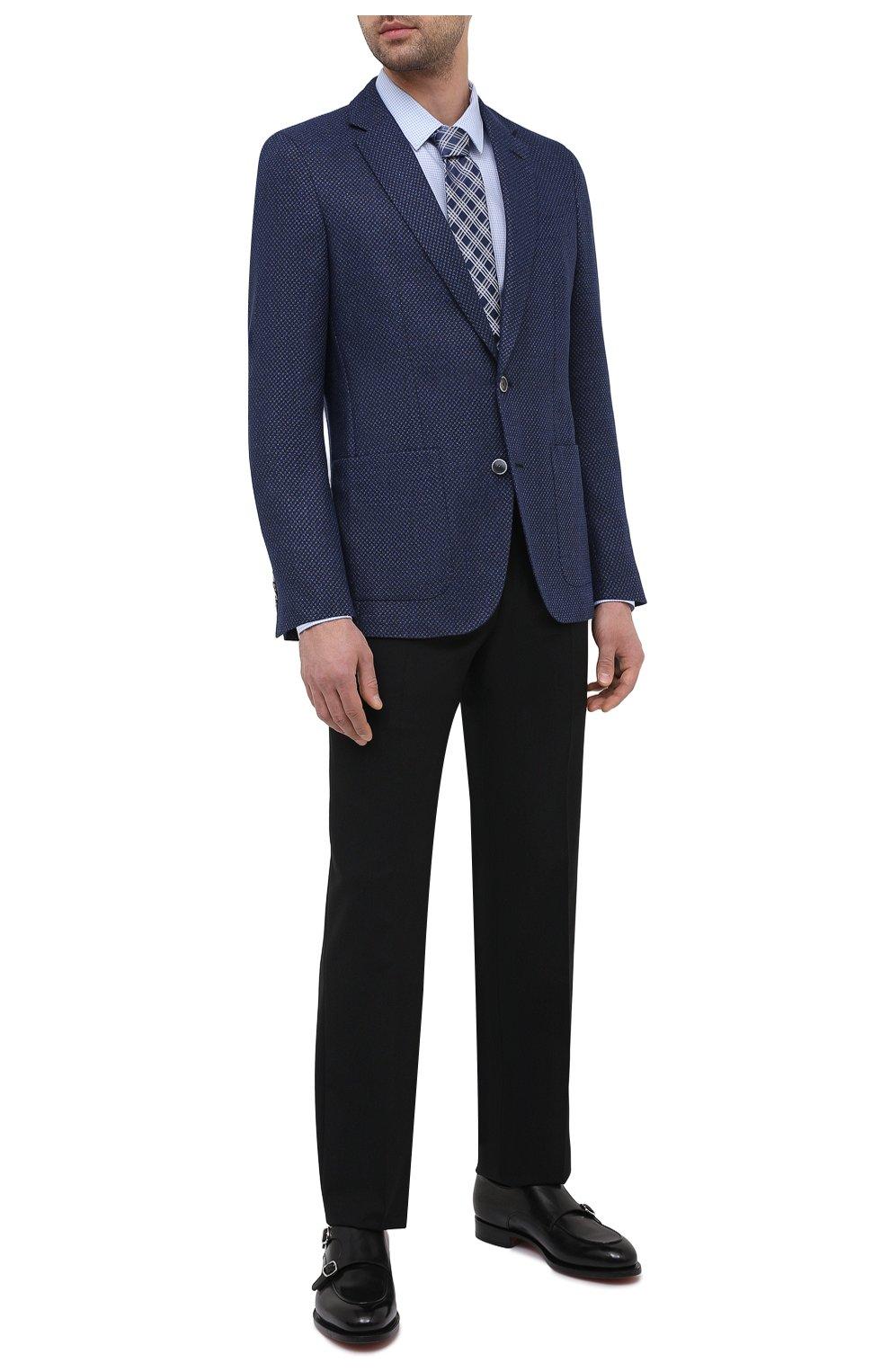 Мужская хлопковая сорочка HUGO голубого цвета, арт. 50443561   Фото 2 (Манжеты: На пуговицах; Воротник: Кент; Рукава: Длинные; Рубашки М: Super Slim Fit; Длина (для топов): Стандартные; Принт: С принтом; Материал внешний: Хлопок; Стили: Классический; Случай: Формальный; Мужское Кросс-КТ: Сорочка-одежда)