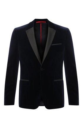 Мужской хлопковый пиджак HUGO темно-синего цвета, арт. 50446674   Фото 1 (Материал внешний: Хлопок; Длина (для топов): Стандартные; Случай: Вечерний; Стили: Классический; Пиджаки М: Приталенный; 1-2-бортные: Однобортные; Рукава: Длинные)
