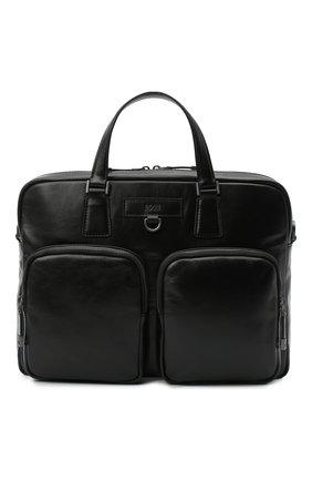 Мужская кожаная сумка для ноутбука BOSS черного цвета, арт. 50446701 | Фото 1