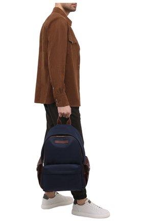 Мужской текстильный рюкзак BRUNELLO CUCINELLI синего цвета, арт. MBLBU243 | Фото 2