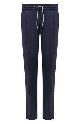 Мужской шерстяные брюки BRUNELLO CUCINELLI темно-синего цвета, арт. M032PE1740 | Фото 1