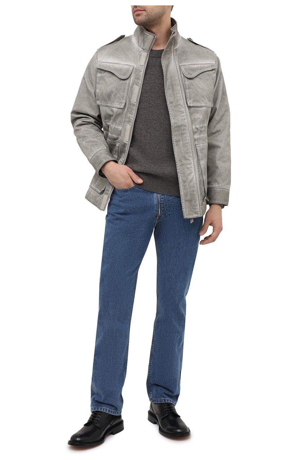 Мужской шерстяной свитер BOTTEGA VENETA серого цвета, арт. 648380/V0AM0   Фото 2 (Материал внешний: Шерсть; Рукава: Длинные; Принт: Без принта; Длина (для топов): Стандартные; Стили: Классический; Мужское Кросс-КТ: Свитер-одежда)