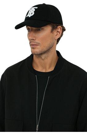 Мужской хлопковая бейсболка BURBERRY черного цвета, арт. 8038141 | Фото 2