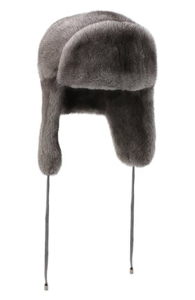Женская шапка-ушанка из меха норки KUSSENKOVV темно-серого цвета, арт. 90600010093 | Фото 1