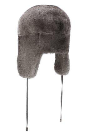 Женская шапка-ушанка из меха норки KUSSENKOVV темно-серого цвета, арт. 90600010093 | Фото 2