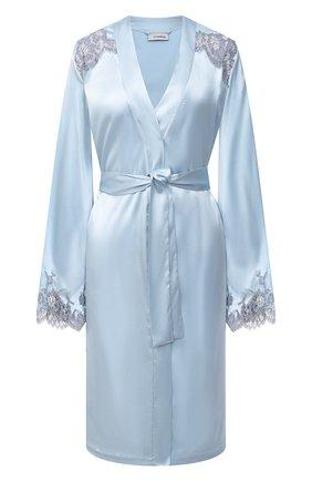Женский шелковый халат I.D. SARRIERI светло-голубого цвета, арт. L4862 | Фото 1