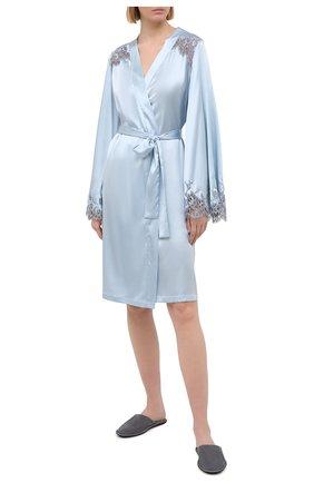 Женский шелковый халат I.D. SARRIERI светло-голубого цвета, арт. L4862 | Фото 2