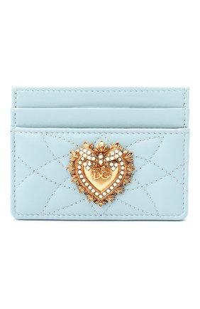Женский кожаный футляр для кредитных карт DOLCE & GABBANA голубого цвета, арт. BI0330/AV967 | Фото 1