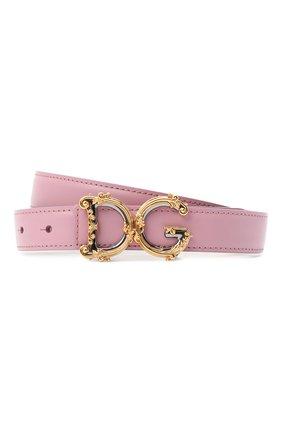 Женский кожаный ремень dg amore DOLCE & GABBANA светло-розового цвета, арт. BE1348/AZ831 | Фото 1