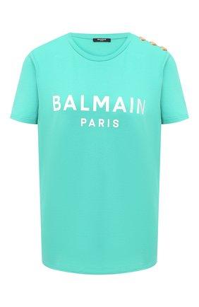 Женская хлопковая футболка BALMAIN зеленого цвета, арт. VF11350/B001 | Фото 1