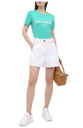 Женская хлопковая футболка BALMAIN зеленого цвета, арт. VF11350/B001 | Фото 2