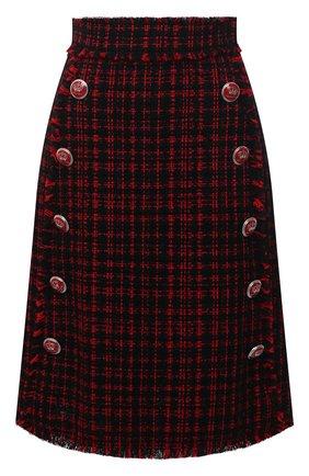 Женская юбка DOLCE & GABBANA красного цвета, арт. F4BRZT/FMMFQ | Фото 1