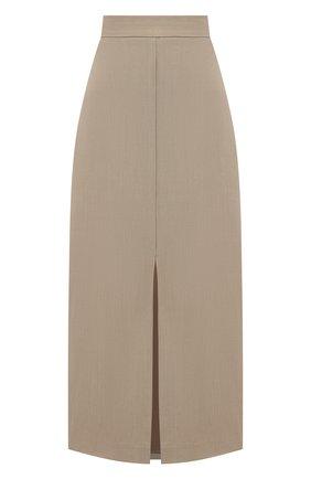 Женская юбка из вискозы и льна BRUNELLO CUCINELLI бежевого цвета, арт. MH126G3076 | Фото 1