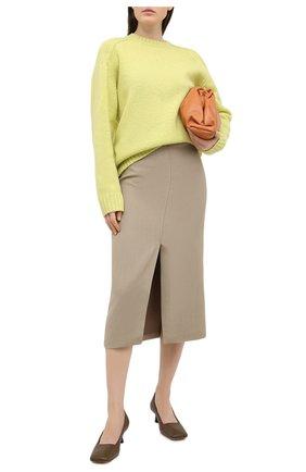 Женская юбка из вискозы и льна BRUNELLO CUCINELLI бежевого цвета, арт. MH126G3076 | Фото 2