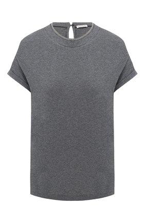 Женская хлопковая футболка BRUNELLO CUCINELLI темно-серого цвета, арт. M0T18BD200   Фото 1