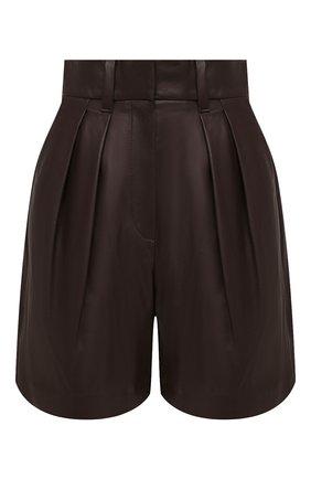 Женские кожаные шорты BRUNELLO CUCINELLI темно-коричневого цвета, арт. M0TANP7628 | Фото 1