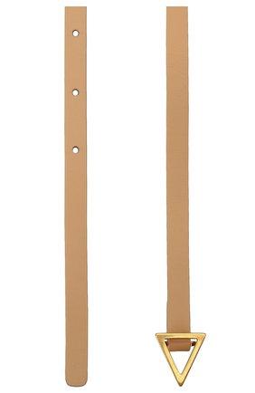 Женский кожаный ремень BOTTEGA VENETA бежевого цвета, арт. 619759/VMAU1 | Фото 2 (Материал: Кожа)