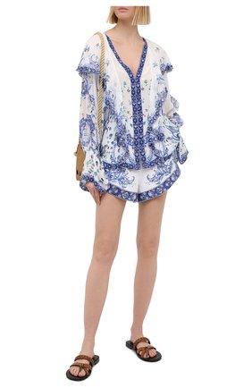 Женское шелковая туника CAMILLA голубого цвета, арт. 7121 | Фото 2