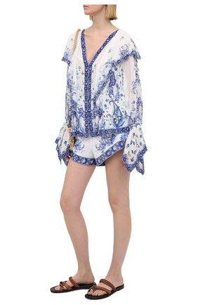 Женские льняные шорты CAMILLA голубого цвета, арт. 7349 | Фото 2