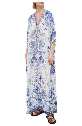 Женское шелковое платье CAMILLA голубого цвета, арт. 7774 | Фото 2