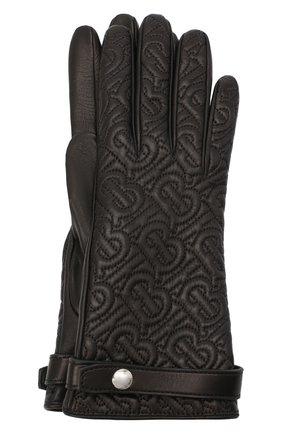 Женские кожаные перчатки BURBERRY черного цвета, арт. 8024983 | Фото 1