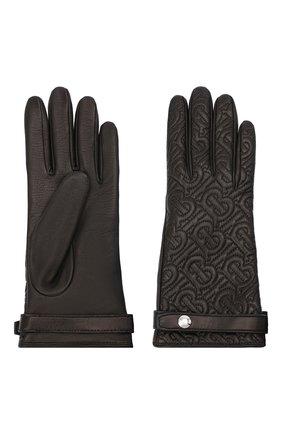 Женские кожаные перчатки BURBERRY черного цвета, арт. 8024983 | Фото 2