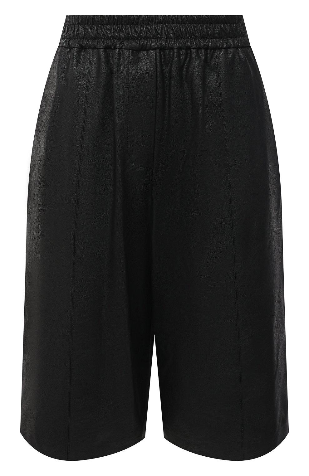 Женские шорты из экокожи NUDE черного цвета, арт. 1103028/SH0RTS | Фото 1 (Женское Кросс-КТ: Шорты-одежда; Материал внешний: Синтетический материал, Вискоза; Кросс-КТ: Широкие, экокожа; Стили: Спорт-шик; Длина Ж (юбки, платья, шорты): До колена)