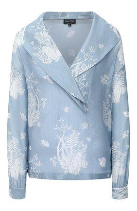 Женская шелковая блузка GIORGIO ARMANI голубого цвета, арт. 1SHCCZ09/TZ793 | Фото 1