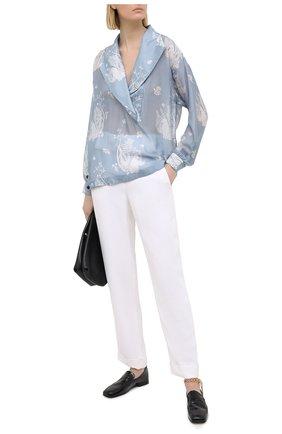 Женская шелковая блузка GIORGIO ARMANI голубого цвета, арт. 1SHCCZ09/TZ793 | Фото 2