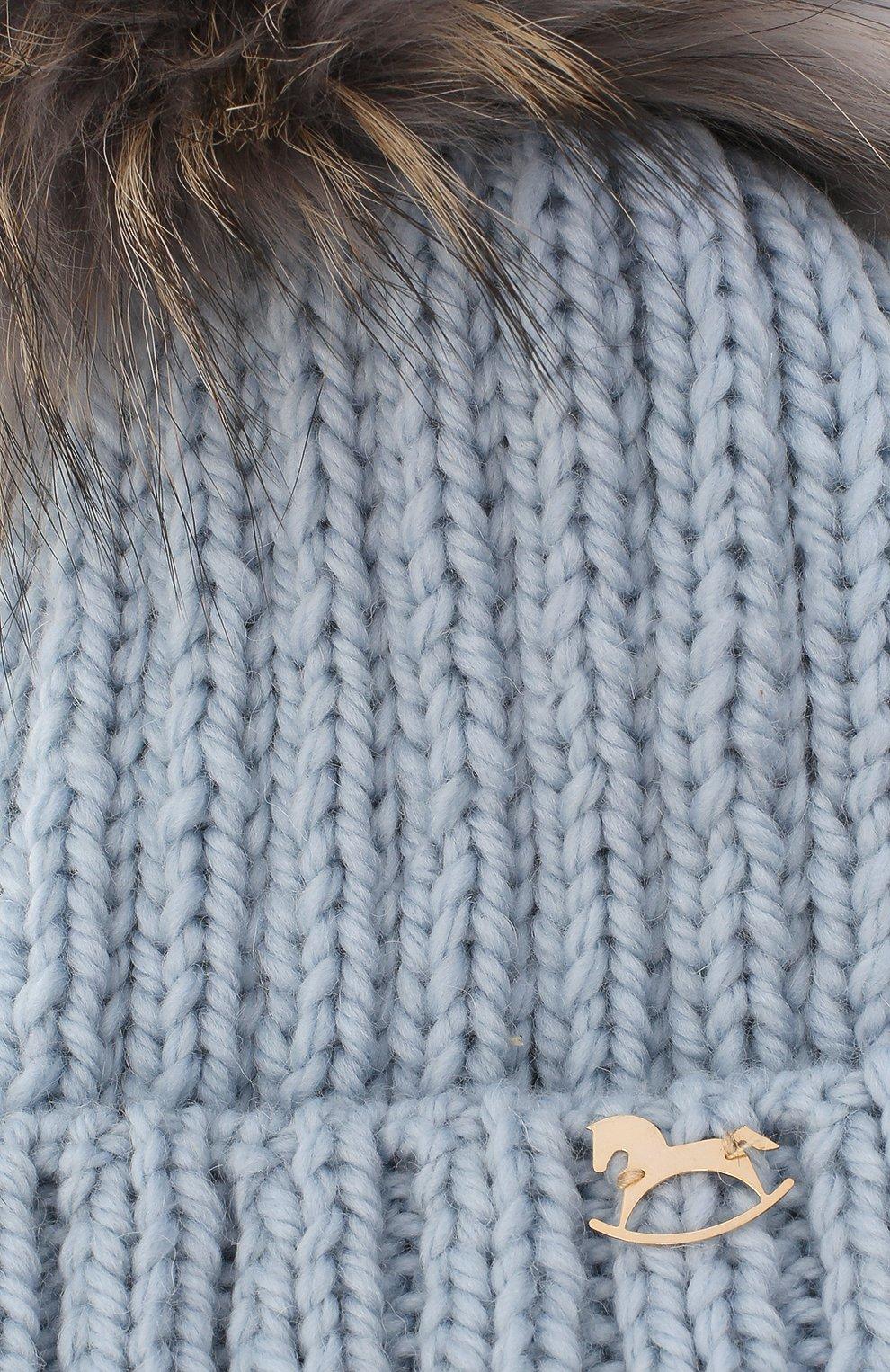 Детского шерстяная шапка CASILDA Y JIMENA голубого цвета, арт. 775103171   Фото 3 (Материал: Шерсть)