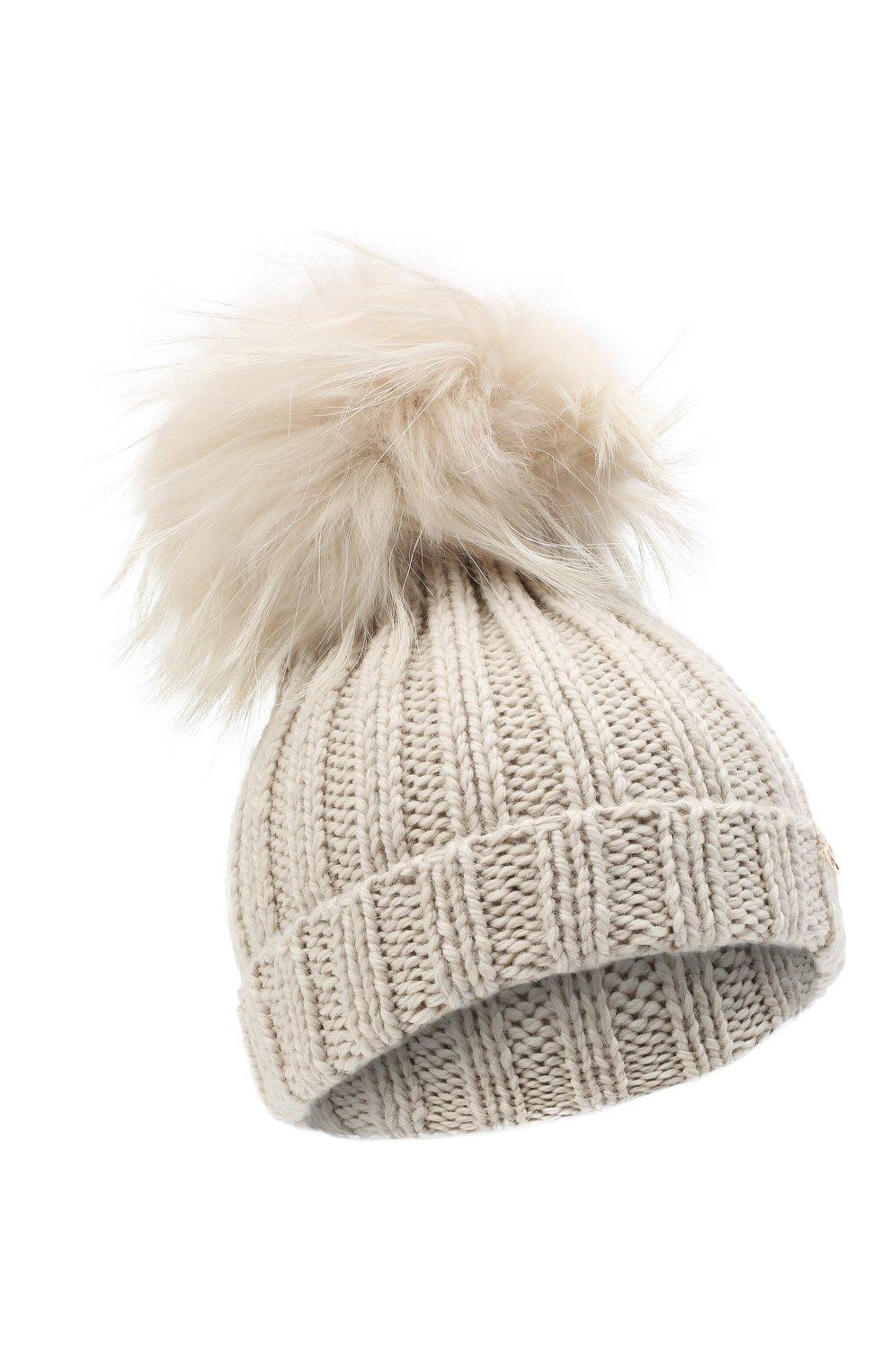 Детского шерстяная шапка CASILDA Y JIMENA кремвого цвета, арт. 775124022 | Фото 1 (Материал: Шерсть)