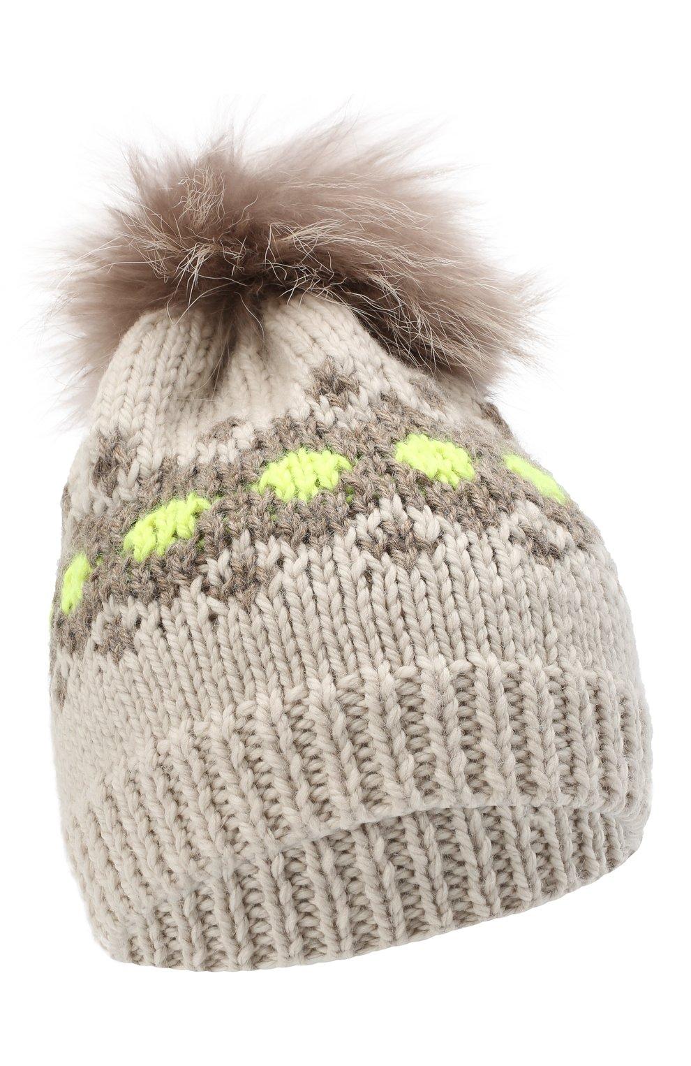 Детского шерстяная шапка CASILDA Y JIMENA кремвого цвета, арт. 775153247 | Фото 1 (Материал: Шерсть)